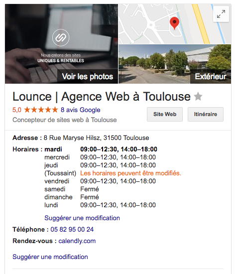 fiche Google My business Lounce